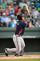 Second baseman Michael Mateja (8) of the Rome Braves bats in Game 2 of a doubleheader against the Greenville Drive on Friday, August 3, 2018, at Fluor Field at the West End in Greenville, South Carolina. Rome won, 6-3. (Tom Priddy/Four Seam Images)