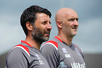 Lincoln City manager Danny Cowley, left, and Lincoln City's first team goalkeeping coach Andy Warrington<br /> <br /> Photographer Chris Vaughan/CameraSport<br /> <br /> Football Pre-Season Friendly (Community Festival of Lincolnshire) - Gainsborough Trinity v Lincoln City - Saturday 6th July 2019 - The Martin & Co Arena - Gainsborough<br /> <br /> World Copyright © 2018 CameraSport. All rights reserved. 43 Linden Ave. Countesthorpe. Leicester. England. LE8 5PG - Tel: +44 (0) 116 277 4147 - admin@camerasport.com - www.camerasport.com