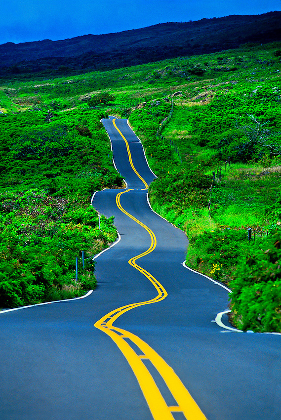 Driving the Kula Highway, Maui, Hawaii USA