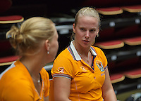 The Netherlands, Den Bosch, 16.04.2014. Fed Cup Netherlands-Japan, training, Kiki Bertens (L) and Richel Hogenkamp (NED) <br /> Photo:Tennisimages/Henk Koster