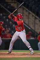 AZL Angels catcher Jeans Flores (62) at bat during an Arizona League game against the AZL Athletics at Tempe Diablo Stadium on June 26, 2018 in Tempe, Arizona. The AZL Athletics defeated the AZL Angels 7-1. (Zachary Lucy/Four Seam Images)