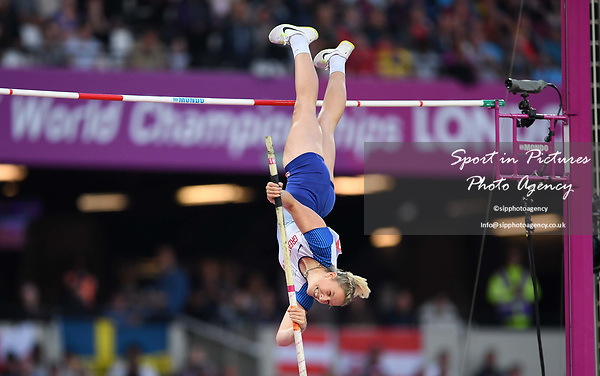 Holly Bradshaw (GBR) in the womens pole vault. IAAF world athletics championships. London Olympic stadium. Queen Elizabeth Olympic park. Stratford. London. UK. 06/08/2017. ~ MANDATORY CREDIT Garry Bowden/SIPPA - NO UNAUTHORISED USE - +44 7837 394578