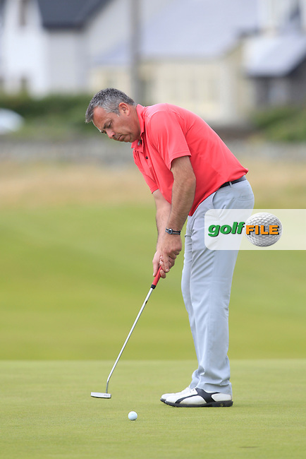 Pat Murray (Limerick) on the 18th green during Matchplay Round 4 of the South of Ireland Amateur Open Championship at LaHinch Golf Club on Saturday 25th July 2015.<br /> Picture:  Golffile   TJ Caffrey