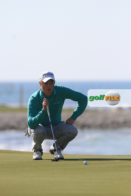Lloyd Kennedy (ENG) on the 8th green on Day 3 of the 2012 Sicilian Open at Verdura Golf and Spa Resort, Sicily, Italy...(Photo Jenny Matthews/www.golffile.ie)