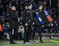 Blackpool's manager McPhillips and assistant manager Gary Brabin  keep an eye on the time remaining in the game<br /> <br /> Photographer Andrew Kearns/CameraSport<br /> <br /> The EFL Sky Bet League One - Portsmouth v Blackpool - Saturday 12th January 2019 - Fratton Park - Portsmouth<br /> <br /> World Copyright &copy; 2019 CameraSport. All rights reserved. 43 Linden Ave. Countesthorpe. Leicester. England. LE8 5PG - Tel: +44 (0) 116 277 4147 - admin@camerasport.com - www.camerasport.com