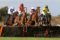 Topenhall ridden by Charlie Poste (R) and Beausang ridden by Paul Moloney jump together during the Warrens of Warwick 34 Years Anniversary Handicap Hurdle