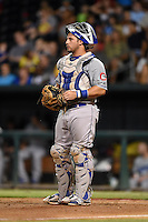 Chattanooga Lookouts catcher Chris O'Brien (27) during game three of the Southern League Championship Series against the Jacksonville Suns on September 12, 2014 at Bragan Field in Jacksonville, Florida.  Jacksonville defeated Chattanooga 6-1 to sweep three games to none.  (Mike Janes/Four Seam Images)