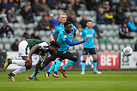 Fleetwood Town's  Devante Cole competing with Plymouth Argyle's Yann Songo'o for possession<br /> <br /> Photographer Andrew Kearns/CameraSport<br /> <br /> The EFL Sky Bet League One - Plymouth Argyle v Fleetwood Town - Saturday 7th October 2017 - Home Park - Plymouth<br /> <br /> World Copyright &copy; 2017 CameraSport. All rights reserved. 43 Linden Ave. Countesthorpe. Leicester. England. LE8 5PG - Tel: +44 (0) 116 277 4147 - admin@camerasport.com - www.camerasport.com
