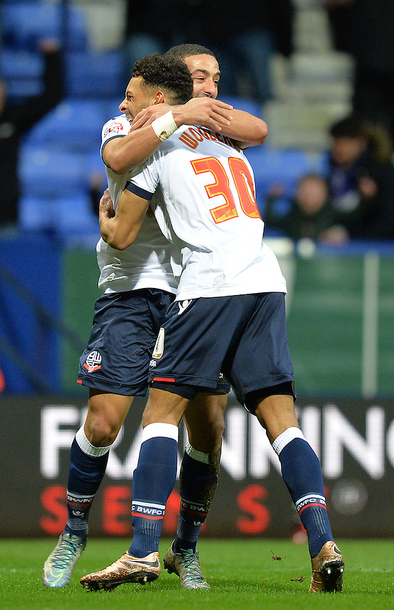 Bolton Wanderers' Kaiyne Woolery is congratulated on scoring the winning goal<br /> <br /> Photographer Dave Howarth/CameraSport<br /> <br /> Football - The Football League Sky Bet Championship - Bolton Wanderers v Rotherham United - Saturday 6th February 2016 - Macron Stadium - Bolton <br /> <br /> &copy; CameraSport - 43 Linden Ave. Countesthorpe. Leicester. England. LE8 5PG - Tel: +44 (0) 116 277 4147 - admin@camerasport.com - www.camerasport.com