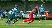 Issued by Cricket Scotland - Tilney Regional Series - Knights V Warriors - Grange CC - in the first of this season's mens Tilney Regional Series Eastern Knights Dylan Budge (centre) making runs to pass his 50 as the match progressed  - picture by Donald MacLeod - 28.04.19 - 07702 319 738 - clanmacleod@btinternet.com - www.donald-macleod.com
