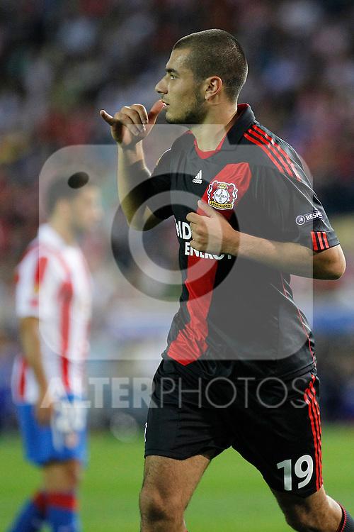 Bayer Leverkusen's  Eren Derdiyok scores first goal during UEFA Europe League, september 30, 2010...Photo: Cesar Cebolla / ALFAQUI