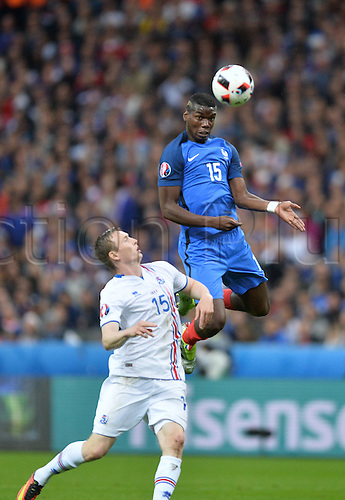 03.07.2016. St Denis, Paris, France. UEFA EURO 2016 quarter final match between France and Iceland at the Stade de France in Saint-Denis, France, 03 July 2016.  Paul Pogba (fra) climbs to win the header