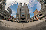 Fisheye of the Metropolitan Government Building in Shinjuku, Tokyo, Japan