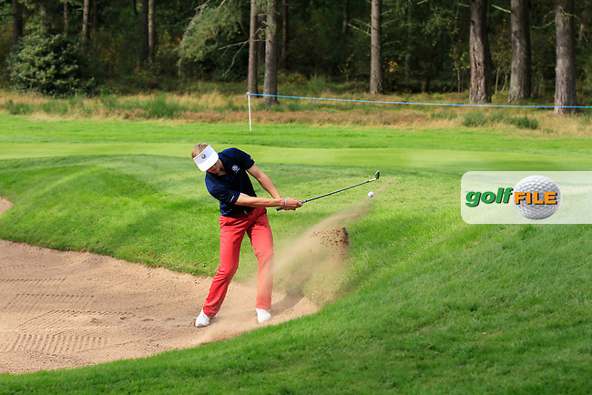 Sam Burns (USA) in a bunker on the 2nd hole of the Mixed Fourballs during the 2014 JUNIOR RYDER CUP at the Blairgowrie Golf Club, Perthshire, Scotland. <br /> Picture:  Thos Caffrey / www.golffile.ie