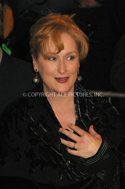"Actress Meryl Streep arrives at the New York Premiere of her movie, ""The Hours."" New York, December 15, 2002. ..Please byline: Alecsey Boldeskul/NY Photo Press.   ..*PAY-PER-USE*      ....NY Photo Press:  ..phone (646) 267-6913;   ..e-mail: info@nyphotopress.com"