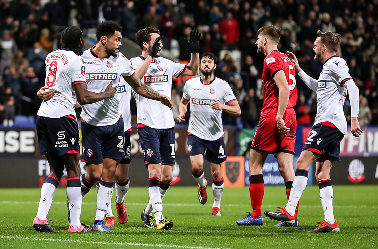 Bolton Wanderers' Josh Magennis celebrates scoring his side's second goal with his teammates<br /> <br /> Photographer Andrew Kearns/CameraSport<br /> <br /> Emirates FA Cup Third Round - Bolton Wanderers v Walsall - Saturday 5th January 2019 - University of Bolton Stadium - Bolton<br />  <br /> World Copyright © 2019 CameraSport. All rights reserved. 43 Linden Ave. Countesthorpe. Leicester. England. LE8 5PG - Tel: +44 (0) 116 277 4147 - admin@camerasport.com - www.camerasport.com