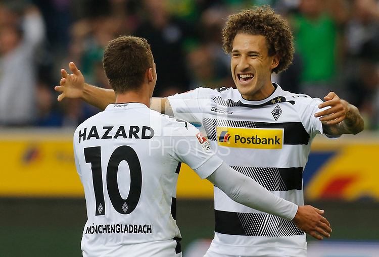 Moenchengladbach, Germany 17.09.2016, 1. Bundesliga 3. Match Day, Borussia Moenchengladbach - SV Werder Bremen,  Thorgan Hazard (Moenchengladbach, L) celebrates with Fabian Johnson.  . .