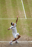 Roger Federer (SUI) Serves during Mens Final match against Marin Cilic (CRO), Wimbledon Championships 2017, Day 13, Mens Final, All England Lawn Tennis & Croquet Club, Church Rd, London, United Kingdom - 16th July 2017