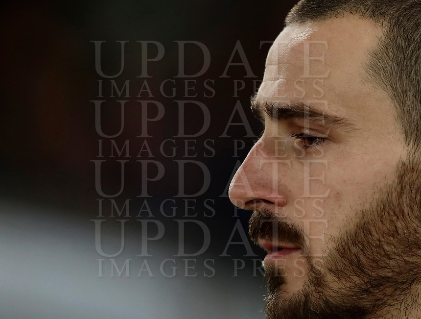 Calcio, Serie A: AS Roma - AC Milan, Roma, stadio Olimpico, 25 febbraio, 2018.<br /> Milan's captain Leonardo Bonucci before the start of the Italian Serie A football match between AS Roma and AC Milan at Rome's Olympic stadium, February 28, 2018.<br /> UPDATE IMAGES PRESS/Isabella Bonotto