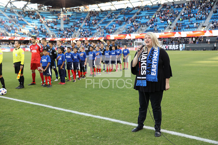 San Jose, CA - Saturday August 25, 2018: National anthem during a Major League Soccer (MLS) match between the San Jose Earthquakes and Vancouver Whitecaps FC at Avaya Stadium.