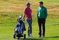 Brendan Coffey (GUI) chatting with John-Ross Galbraith (Whitehead) after losing his match to Arthur Pierse (Tipperary) 2&1during Round 2 of Matchplay of the South of Ireland Amateur Open Championship at LaHinch Golf Club on Friday 22nd July 2016.<br /> Picture:  Golffile | Thos Caffrey<br /> <br /> All photos usage must carry mandatory copyright credit   (© Golffile | Thos Caffrey)