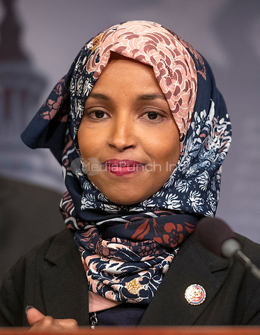 United States Representative Ilhan Omar (Democrat of Minnesota) makes remarks at a press conference in the US Capitol in Washington, DC announcing a Democratic package of three bills to be introduced in the US Senate and US House to control prescription drug prices on Thursday, January 10, 2019.<br /> Credit: Ron Sachs / CNP /MediaPunch