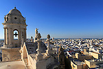 Rooftops of buildings in Barrio de la Vina, looking west from cathedral roof, Cadiz, Spain