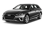 2020 Audi A4 S-Line 5 Door Wagon angular front stock photos of front three quarter view