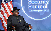 Acting President Dr. Goodluck E. Jonathan of Nigeria looks on during a meeting with United States President Barack Obama during the Nuclear Security Summit at the Blair House, Sunday,  April 11, 2010 in Washington, DC. .Credit: Olivier Douliery / Pool via CNP