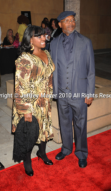 "HOLLYWOOD, CA. - April 19: Samuel L. Jackson (R) and wife LaTanya Richardson arrive at the Los Angeles Premiere of ""Mother And Child"" at the Egyptian Theatre on April 19, 2010 in Hollywood, California."