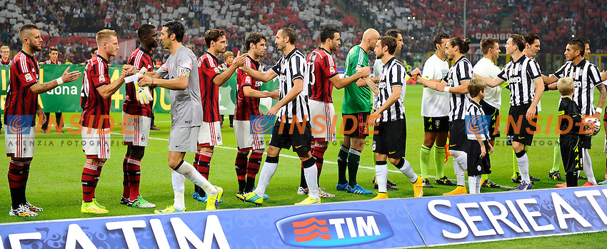 giocatori Milan e Juventus a inizio gara<br /> Milano 20-09-2014 Stadio Giuseppe Meazza - Football Calcio Serie A Milan - Juventus. Foto Giuseppe Celeste / Insidefoto
