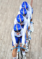 CALI – COLOMBIA – 18-02-2017: Beatrice Bartelloni, Simona Frapporti, Francesca Pattaro y Silvia Valsecchi, de Italia, durante la prueba de los 4000 metros persecusion por equipos damas en el Velodromo Alcides Nieto Patiño, sede de la III Valida de la Copa Mundo UCI de Pista de Cali 2017. / Beatrice Bartelloni, Simona Frapporti, Francesca Pattaro y Silvia Valsecchi, from Italy, during a 4000 meters Women´s Teams Pursuit test at the Alcides Nieto Patiño Velodrome, home of the III Valid of the World Cup UCI de Cali Track 2017. Photo: VizzorImage / Luis Ramirez / Staff.