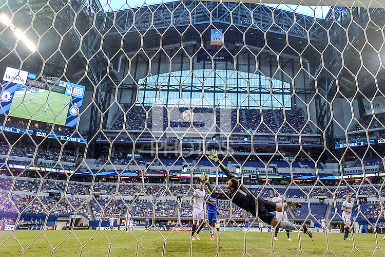 Indianapolis, IN - Thursday August 01, 2013:   Inter Milan goalkeeper Handanovic Samir #1 dives to save a goal shot by Chelsea midfielder Oscar #11 during the Guinness International Champions Cup game between Chelsea and Inter Milan at Lucas Oil Stadium in Indianapolis, IN. Chelsea defeated Inter Milan 2-0.