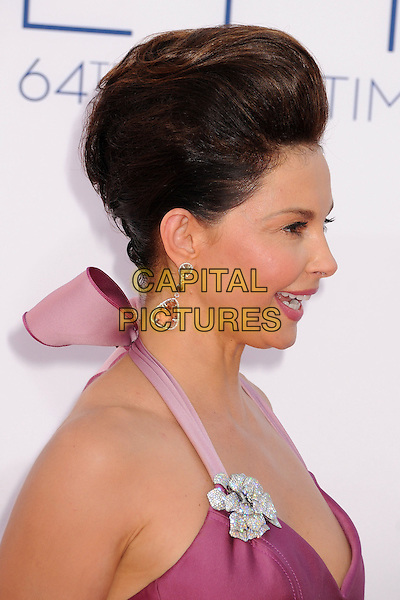 Ashley Judd.The 64th Anual Primetime Emmy Awards - Arrivals, held at Nokia Theatre L.A. Live in Los Angeles, California, USA..September 23rd, 2012.emmys headshot portrait dangling earrings mouth open side profile ribbon  purple halterneck hair up beehive .CAP/ADM/BP.©Byron Purvis/AdMedia/Capital Pictures.