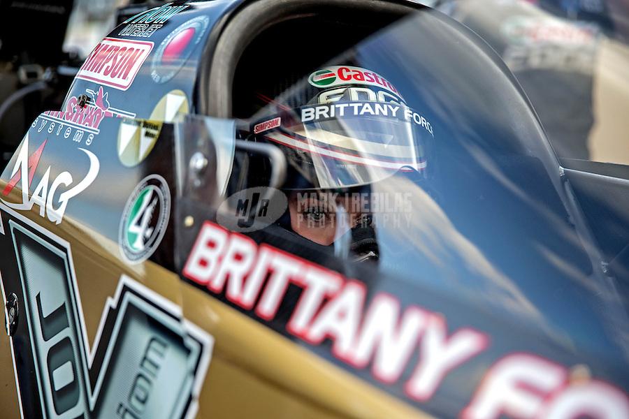 Jul. 19, 2013; Morrison, CO, USA: NHRA top fuel dragster driver Brittany Force during qualifying for the Mile High Nationals at Bandimere Speedway. Mandatory Credit: Mark J. Rebilas-