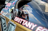 Jul. 19, 2013; Morrison, CO, USA: NHRA top fuel dragster driver Brittany Force during qualifying for the Mile High Nationals at Bandimere Speedway. Mandatory Credit: Mark J. Rebilas-