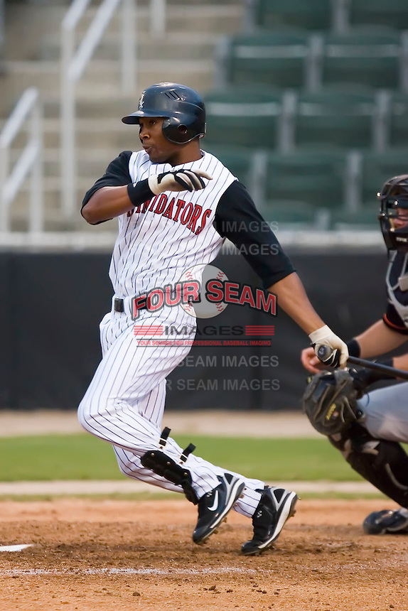 Ronnie Gaines (29) of the Kannapolis Intimidators follows through on his swing versus the Delmarva Shorebirds at Fieldcrest Cannon Stadium in Kannapolis, NC, Wednesday, May 14, 2008.