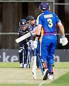 ICC World T20 Qualifier (Warm up match) - Scotland V Namibia at Grange CC, Edinburgh - Namibia bat Stephan Baard is bowled by Scotland's Mark Watt - keeper is Craig Wallace — credit @ICC/Donald MacLeod - 06.7.15 - 07702 319 738 -clanmacleod@btinternet.com - www.donald-macleod.com
