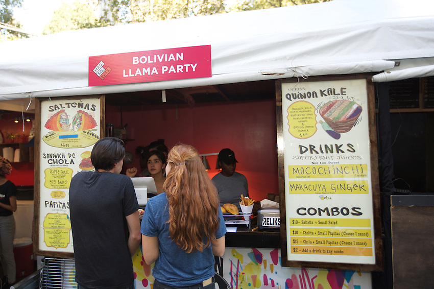 New York, NY - September 12, 2016:  Madison Square Eats opens for the Fall season with new vendors, Bolivian Llama Party, Mister Bing and Amali Mou.<br /> <br /> CREDIT: Clay Williams for Gothamist.<br /> <br /> &copy; Clay Williams / claywilliamsphoto.com