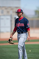 Cleveland Indians starting pitcher Luis Garcia (60) walks off the field between innings of an Extended Spring Training game against the Arizona Diamondbacks at the Cleveland Indians Training Complex on May 27, 2018 in Goodyear, Arizona. (Zachary Lucy/Four Seam Images)