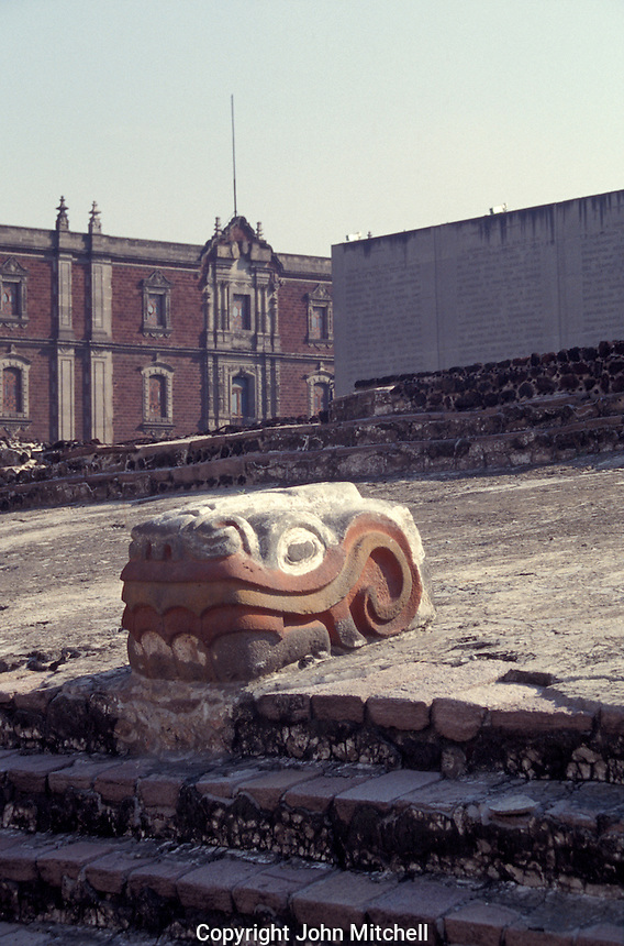 Serpent head with original colouring at the Aztec ruins of the Templo Mayor or Great Pyramid of Tenochtitlan, Mexico City
