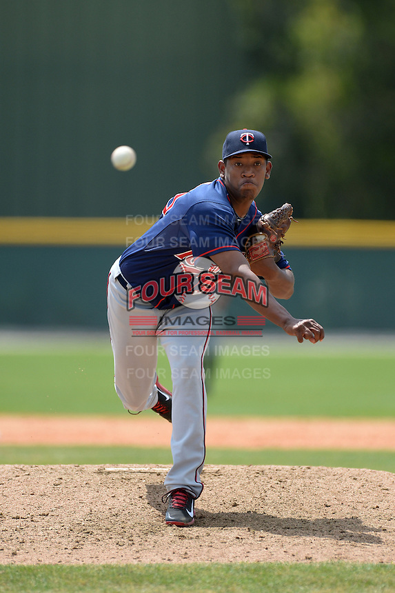 Minnesota Twins pitcher Yorman Landa (30) during a minor league spring training game against the Baltimore Orioles on March 20, 2014 at the Buck O'Neil Complex in Sarasota, Florida.  (Mike Janes/Four Seam Images)