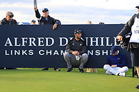 Jon Rahm (ESP) and Rory McIlroy (NIR) having a rest on the 17th tee during Round 3 of the Alfred Dunhill Links Championship 2019 at St. Andrews Golf CLub, Fife, Scotland. 28/09/2019.<br /> Picture Thos Caffrey / Golffile.ie<br /> <br /> All photo usage must carry mandatory copyright credit (© Golffile | Thos Caffrey)
