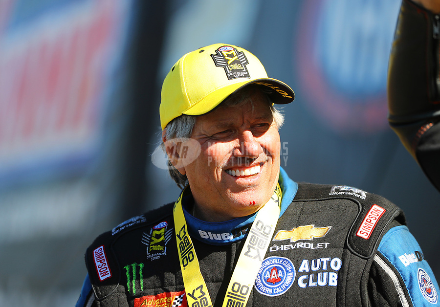 Mar 19, 2017; Gainesville , FL, USA; NHRA funny car driver John Force after winning the Gatornationals at Gainesville Raceway. Mandatory Credit: Mark J. Rebilas-USA TODAY Sports