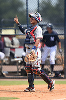 GCL Braves catcher Alejandro Flores (50) during the second game of a doubleheader against the GCL Yankees 1 on July 1, 2014 at the Yankees Minor League Complex in Tampa, Florida.  GCL Braves defeated the GCL Yankees 1 by a score of 3-1.  (Mike Janes/Four Seam Images)