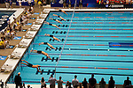 23 MAR 2012: General view as swimmers start the 200 yard butterfly event during the Division III Men's and Women's Swimming and Diving Championship held at the IU Natatorium in Indianapolis, IN. Patrick Augustyn of Emory won the event with a time of 1:45.43.  Joe Robbins/NCAA Photos