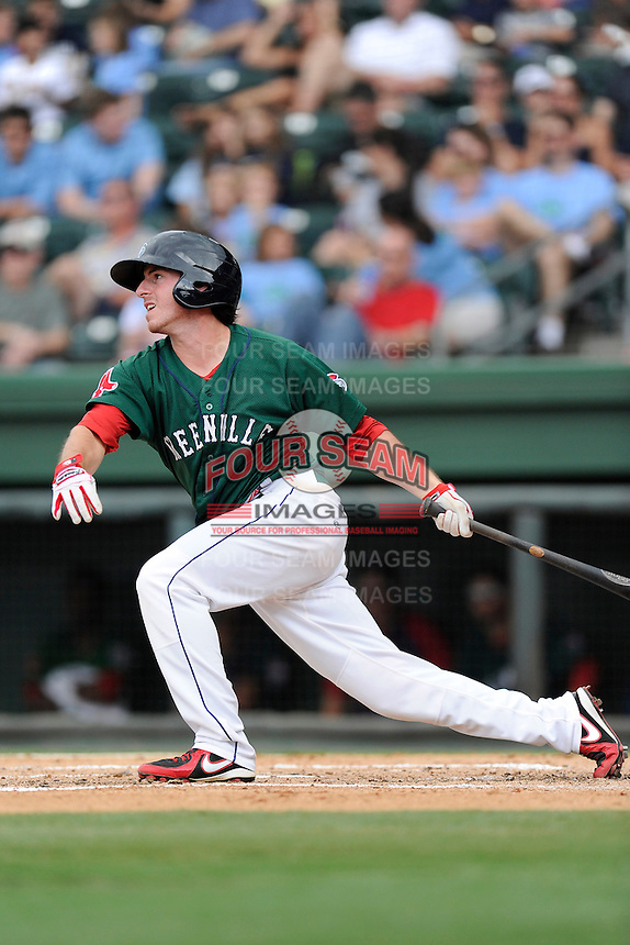 Third baseman Jimmy Rider (5) of the Greenville Drive bats in a game against the Savannah Sand Gnats on Sunday, August 24, 2014, at Fluor Field at the West End in Greenville, South Carolina. Greenville won, 8-5. (Tom Priddy/Four Seam Images)