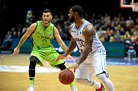 GRONINGEN - Basketbal, Donar - Dinamo Sassari, Martiniplaza, Europe Cup, seizoen 2018-2019, 12-12-2018,  Donar speler Lance Jeter met Sassari  speler  Marco Spissu