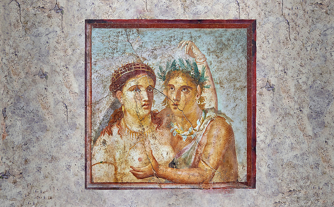 A Roman erotic fresco painting from Pompeii depicting satyr caressing a maiden,  Naples National Archaeological, 1st cent AD , from the Casa di L Cecilio Giocondo, inv no 110590 , Secret Museum or Secret Cabinet,