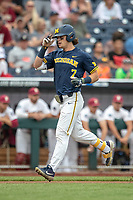 Michigan Wolverines outfielder Jesse Franklin (7) crosses the plate after his first inning home run in Game 6 of the NCAA College World Series against the Florida State Seminoles on June 17, 2019 at TD Ameritrade Park in Omaha, Nebraska. Michigan defeated Florida State 2-0. (Andrew Woolley/Four Seam Images)